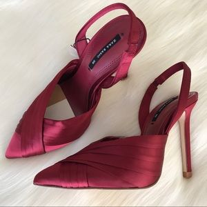 Zara Red Satin High Heels Slingbacks Size 5 EU 35